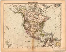 Észak - Amerika térkép 1893, eredeti, német, antik