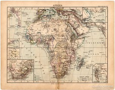 Afrika térkép 1893, eredeti, német nyelvű, antik
