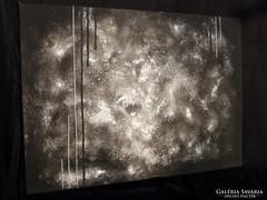 Új! Kézzel festett gyönyörű absztrakt festmény Ezüst alapon