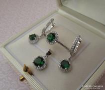 Zöld köves ezüst szett - új
