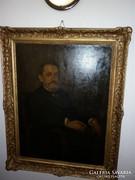Nagy Férfi Portré 120x 95cm bidermeier olajfestmény