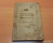 1916 Elemi népiskolai értesítő,Főv. I. Fehérsas-téri iskola