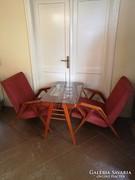 Különleges extra Tatra Nabytok fotel pár és asztal garnitúra
