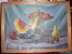 Hranitzky Ilona: Csendélet gyümölcsökkel, régi olaj-vászon