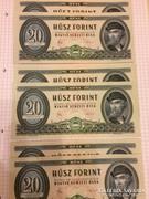 20 forint 1980 6db UNC azaz 3 pár sorszámkov. +2db ajándék!