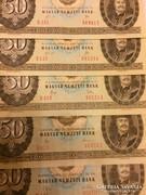 50 forint 1969, 1980, 1983, 1989  5 db UNC gyonyoru!!