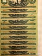 10 forint 1969 10db NAGYON RITKA hiányos sorszamkovetett UNC