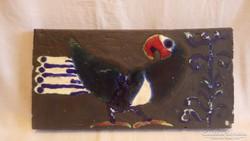 Koós Ildikó samott falikép madár