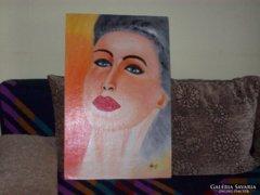 Nagy János   Női fej. Olaj, karton, 68×44 cm  INGYEN POSTA