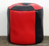 0L306 Régi retro piros-fekete műbőr puff