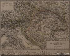 0L349 Antik acélmetszet térkép O.-M. MONARCHIA
