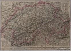 0L354 Antik acélmetszet térkép SVÁJC