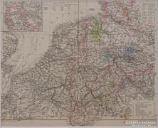 0L358 Antik acélmetszet térkép BENELUX ÁLLAMOK