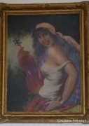 Belényesy festmény: Cigánylány hegedűvel