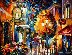Leonid Afremov (1955-): Cafe in the old city