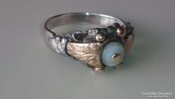 Gyönyörű Antik ezüst gyűrű 14 karátos arannyal kombinálva