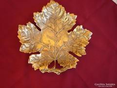 Szőlőlevél alakú súlyos tömör réz asztaldísz jelzett,2,45kg
