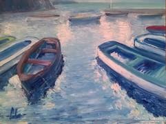 - Csónakok -  olajfestmény