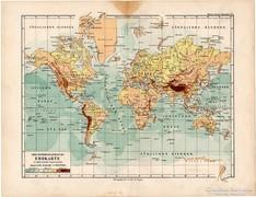 Világtérkép Mercator projekciójában, térkép 1892, eredeti