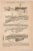 Lőfegyverek, kézi, ágyú, lövedék, nyomat 1892, eredeti