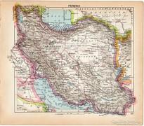 Perzsia térkép 1929, magyar nyelvű, régi, kis méret