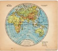 Világtérkép, Keleti - félteke 1929, magyar nyelvű, kis méret