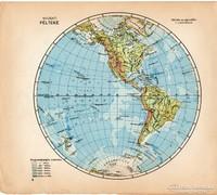 Világtérkép, Nyugati - félteke 1929, magyar nyelvű, régi