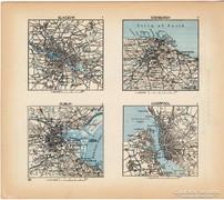 Mini térképek 1929, Glasgow, Edinburgh, Dublin térkép