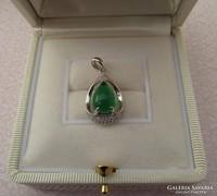 Zöld köves ezüst medál cirkon kövekkel - új ékszer