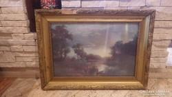 Üvegezett arany - fa képkeret falc 37x56 cm