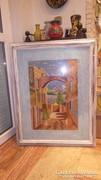 Üvegezett nagy fa képkeret gobelin falc 82x62 cm