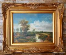 Nyári táj patakkal-festmény