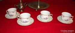 Hollóházi porcelán teás csésze kézzel festett virágos minta