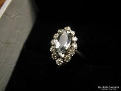 Fehér arany gyűrű akvamarin,cirkon és gyémánt