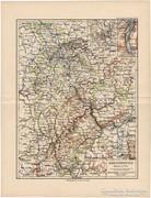 Rajnai tartomány térkép 1892, eredeti, német, régi