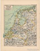 Hollandia térkép 1892, eredeti, német, régi