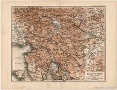 Krain - Isztria térkép 1892, eredeti, német, régi