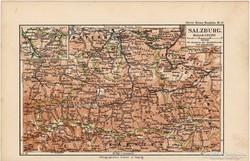 Salzburg térkép 1892, eredeti, német, régi