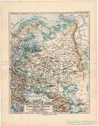 Oroszország (európai része) térkép 1892, eredeti, német,