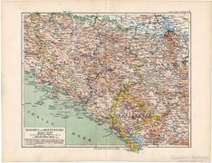 Bosznia és Montenegro térkép 1892, eredeti, német, régi