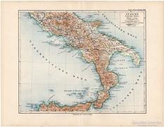 Dél - Olaszország térkép 1892, eredeti, német, régi