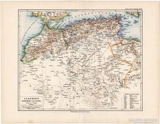 Algéria, Marokkó, Tunisz térkép 1892, Afrika, német