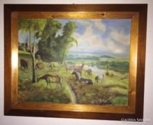 Eladó a képen látható nagyméretű festmény