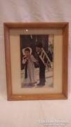 Üvegezett arany - fa képkeret paszpartuval