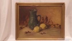 Jelzett olaj-fa asztali csendélet citrommal festmény