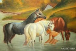 """Fürdőző lovak "" olajfestmény"