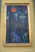 Nagyméretű vasutas festmény- restaurált kerettel