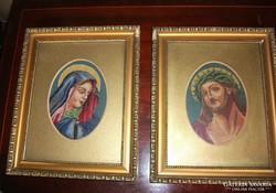 Tűgobelin szent kép pár Szűz Mária-Jézus portré