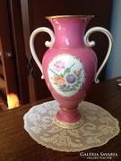 Hollóházi füles váza - Kézi festés - 30 cm.