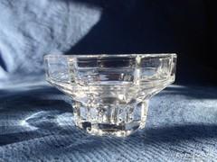 Francia 8 szögletű masszív üveg gyertyatartó 7,5 x 7,5 x 4,5